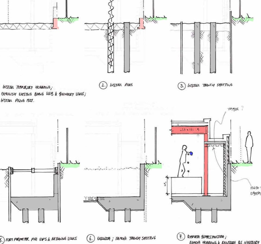 SK11 St Pancras Boxing Club - Suggested retaining wall construction sequence [SS]